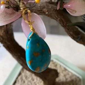 Vintage copper turquoise pendent